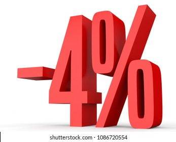 Minus four percent. Discount 4 %. 3D illustration on white background.