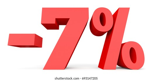 Minus seven percent. Discount 7 %. 3D illustration on white background.