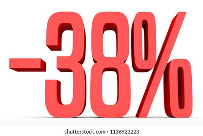 Minus thirty eight percent. Discount 38 %. 3D illustration on white background.