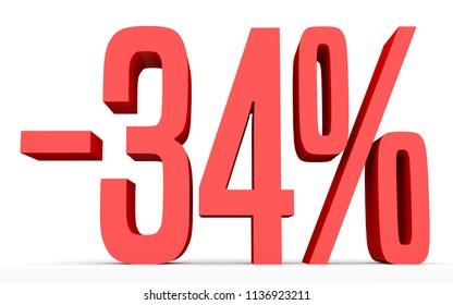 Minus thirty four percent. Discount 34 %. 3D illustration on white background.