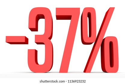 Minus thirty seven percent. Discount 37 %. 3D illustration on white background.