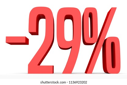Minus twenty nine percent. Discount 29 %. 3D illustration on white background.