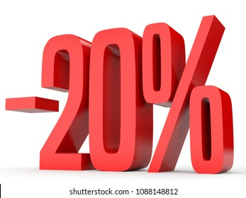 Minus twenty percent. Discount 20 %. 3D illustration on white background.