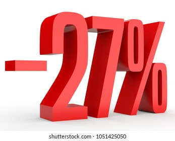 Minus twenty seven percent. Discount 27 %. 3D illustration on white background.
