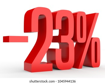 Minus twenty three percent. Discount 23 %. 3D illustration on white background.