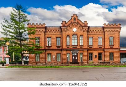 Minusinsk, Krasnoyarsk Krai, RUSSIA - JULY 15, 2018: Martyanov Natural History Museum (Museum of Local Lore) in the center of Minusinsk town in Russia, Siberia