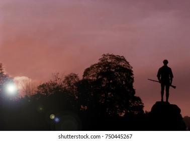 Minuteman Statue at Lexington Massachusetts in the Morning