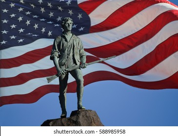 Minuteman Statue and US Flag at Lexington, MA
