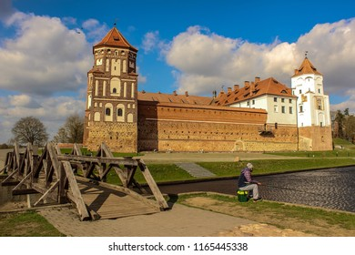 Mir, Belarus - April 18 2018: The Mir castle was constructed during the 16th century in the Belarusian Gothic style. It suffered many changes throughout history, due to the several times it was taken