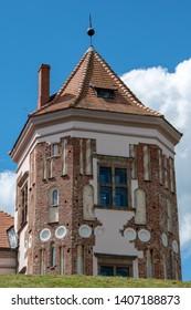 Mir, Belarus, April 24, 2019: The ancient tower of the Mir castle, historic sites