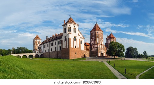 Mir, Belarus - August 04, 2016: Ancient medieval fortress in Mir, Belarus. Mir Castle is a museum and castle complex- historical heritage of Belarus. Panoramic shot.