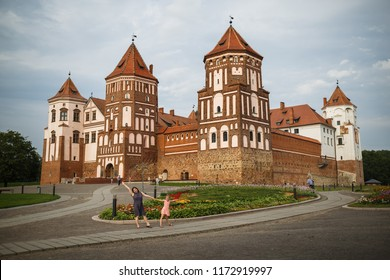 Mir, Belarus - August 04, 2017: Ancient medieval castle with towers in Mir, Belarus. UNESCO World Heritage