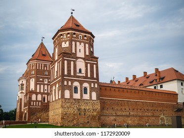 Mir, Belarus - August 04, 2017: Towers and fortress wall of ancient medieval castle in Mir, Belarus. UNESCO World Heritage.