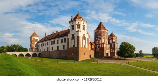 Mir, Belarus - August 04, 2017: Ancient medieval fortress in Mir, Belarus. Mir Castle is a museum and castle complex- historical heritage of Belarus. Panoramic shot.