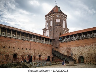 Mir, Belarus - August 04, 2017: Ancient medieval castle with tower in Mir, Belarus. Courtyard of the fortress. UNESCO World Heritage.