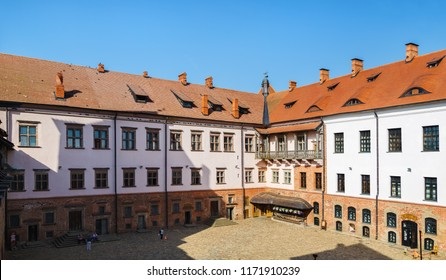 Mir, Belarus - August 11, 2017: Inner courtyard of Mir Castle, Belarus. Mir Castle is a museum and castle complex. Belarus. The Grodno region.