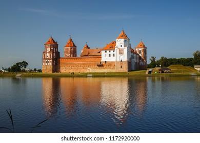 Mir, Belarus - August 11, 2017: Medieval castle on the shore of the lake. Castle in Mir, Belarus. UNESCO World Heritage.