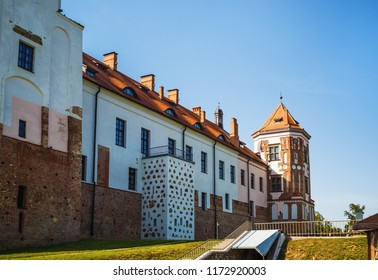 Mir, Belarus - August 11, 2017: Tower and wall of ancient medieval castle in Mir, Belarus. UNESCO World Heritage.