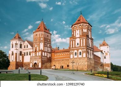 Mir, Belarus. Mir Castle Complex. Architectural Ensemble Of Feudalism, Cultural Monument, UNESCO Heritage. Famous Landmark In Summer.