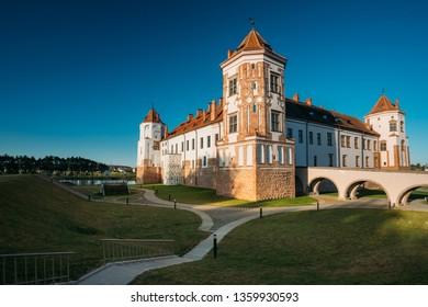 Mir, Belarus. Castle Complex Mir. Cultural Monument, UNESCO World Heritage Site. Famous Landmark And Popular Destination.
