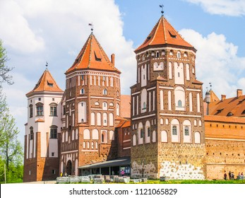 Mir, Belarus. Castle Complex Mir On Sunny Day with blue sky Background. Old medieval Towers and walls of traditional fort from unesco world heritage list
