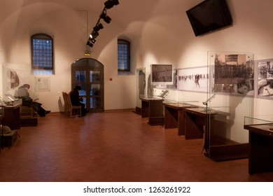 MIR, BELARUS  - JANUARY 08, 2014: Exposition in the Mir Castle Museum dedicated to the history of local Jews during the Second World War.