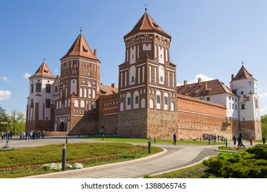 MIR, BELARUS - MAY 01, 2019: Mir Castle close up on a sunny May morning
