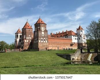 Mir, Belarus - May 5, 2018: View of the Mir Castle on May 5, 2018 in Mir, Belarus