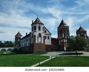 Mir, Belarus - May 6, 2018: Mir Castle in the village of Mir on May 6, 2018 in Mir, Belarus