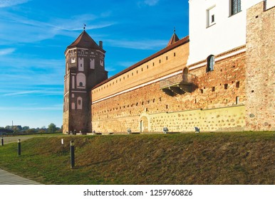 Mir, Belarus - October 15, 2018: Mir castle — stone structure, the main part of which was erected in the XVI—XVII centuries in the vicinity of the village of Mir