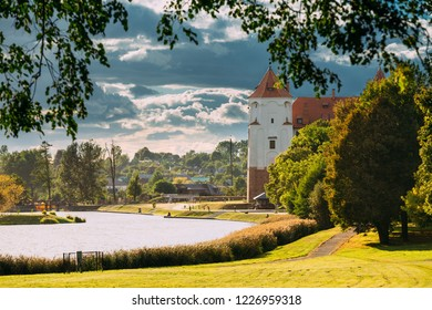 Mir, Belarus. Scenic View Of Castle Complex Mir In Sunny Day. Old Tower. Cultural Monument, UNESCO Heritage. Famous Landmark
