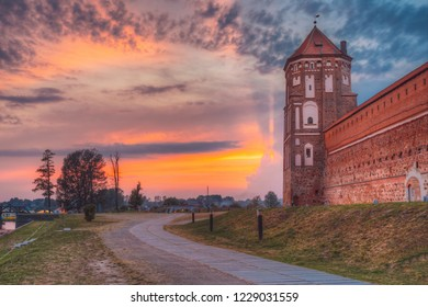 Mir, Belarus. Scenic View Of Castle Complex Mir During Sunset. Old Tower. Cultural Monument, UNESCO Heritage. Famous Landmark