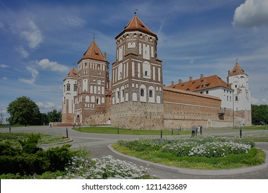 Mir, Belarus-July 15, 2018: The Mir Castle complex is a unique monument of the national culture of Belarus.The residence of the Belarusian clans: Ilinich, Radziwill, Wittgenstein and Svyatopolk-Mirsky
