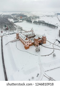 Mir Castle in Belarus. Winter. Drone photo