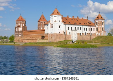 Mir Castle on a sunny May day. Mir, Belarus