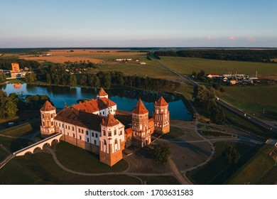 Mir castle with spires near the lake top view in Belarus near the city of Mir. - Shutterstock ID 1703631583
