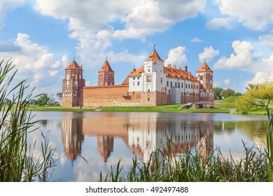 Mir castle in sunny summer day, Belarus