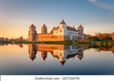Mir castle in the sunsetlight. Belarus