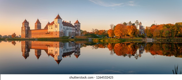 Mir castle in the sunsetlight. Belarus. Panorama