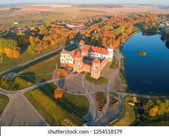 Mir castle in the sunsetlight. Drone aerial HDR-hoto