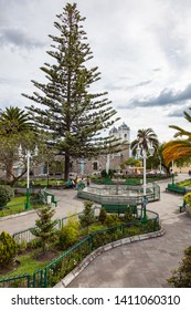 Mira, Carchi, Ecuador, May 20  2019: Central Park of the city of Mira