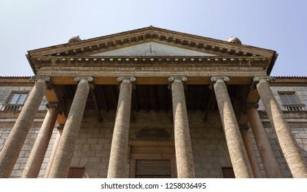 MIRA, Italy - June 24, 2013: Facade of the Villa Foscari La Malcontenta deisgned by Andrea Palladio