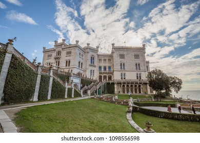 MIRA MARE CASTLE, TRIEST, FRIULI VENEZIA GIULIA, ITALIA - MARCH 2018: view of Mira mare Castle in Trieste