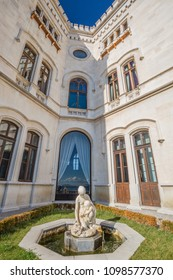 MIRA MARE CASTLE, TRIEST, FRIULI VENEZIA GIULIA, ITALIA - MARCH 2018: view of fountain in Mira mare Castle in Trieste, Italy