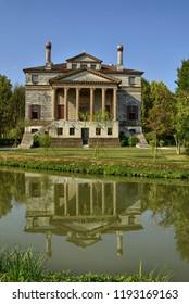 Mira, province of Venice, Veneto region, Italy. August 2018. Villa Foscari, called La Malcontenta, was designed by Andrea Palladio in 1559 in Malcontenta, a hamlet of Mira, along the Brenta canal.