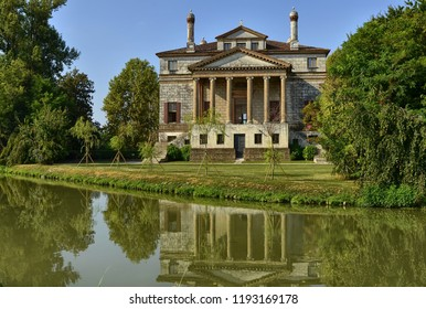 Mira, province of Venice, Veneto region, Italy. August 2018. Villa Foscari, called La Malcontenta, was designed by Andrea Palladio in 1559 in Malcontenta, a hamlet of Mira, along the Brenta canal.