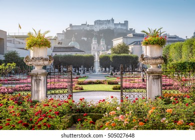 Mirabell garden at Stadt Salzburg in the morning in summer, Salzburg, Austria