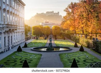Mirabell garden at Stadt Salzburg in the morning in autumn, Salzburg, Austria