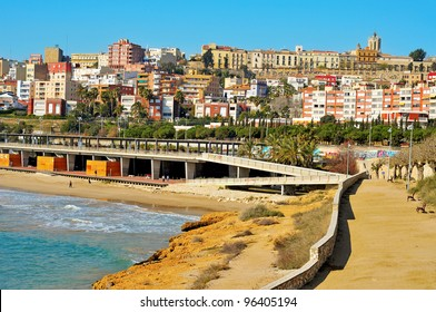 Miracle Beach and panoramic view of Tarragona, Spain
