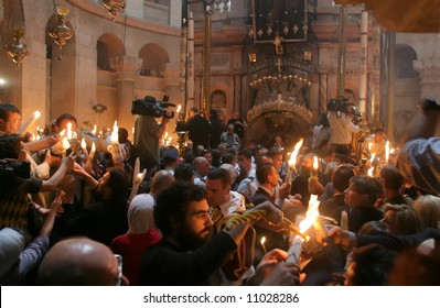 Miracle of Holy Fire that happens every year in Jerusalem in holy sepulchre.